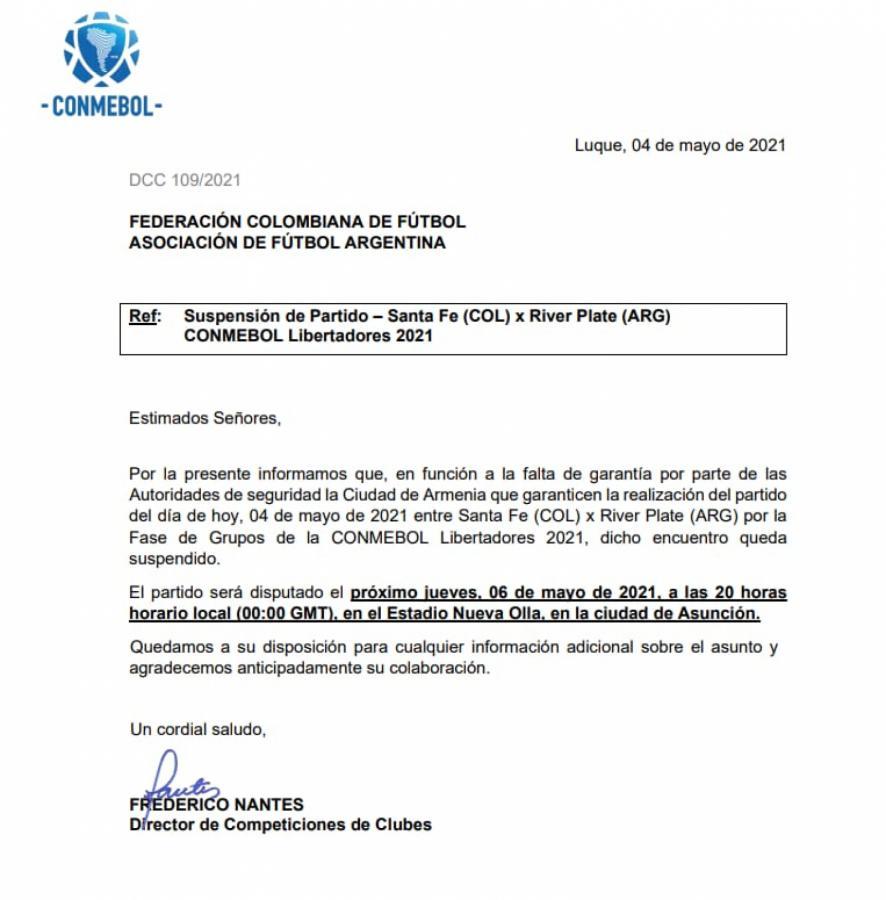 El comunicado de la Conmebol, confirmando el cambio de sede y día del duelo entre River e Independiente Santa Fe.