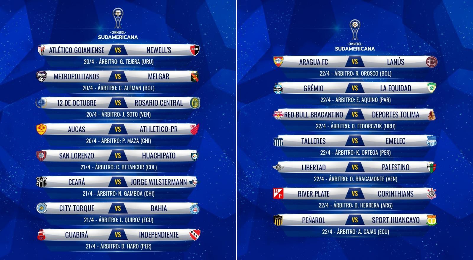 Listado completo de partidos y sus respectivos árbitros de la fecha 1 de la fase de grupos de la Conmebol Sudamericana.